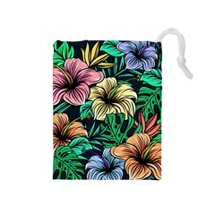 Hibiscus Dream Drawstring Pouch (medium)