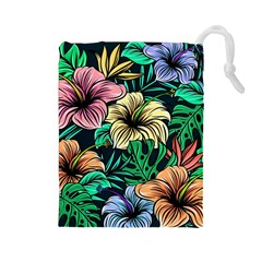 Hibiscus Dream Drawstring Pouch (large)