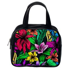 Neon Hibiscus Classic Handbag (one Side)