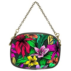 Neon Hibiscus Chain Purse (one Side)