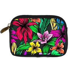 Neon Hibiscus Digital Camera Leather Case