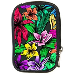 Neon Hibiscus Compact Camera Leather Case
