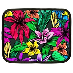 Neon Hibiscus Netbook Case (xl) by retrotoomoderndesigns
