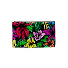 Neon Hibiscus Cosmetic Bag (small)