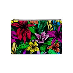 Neon Hibiscus Cosmetic Bag (medium)