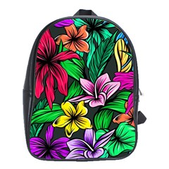 Neon Hibiscus School Bag (large)