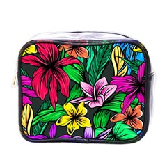 Neon Hibiscus Mini Toiletries Bag (one Side)