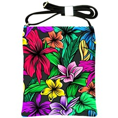 Neon Hibiscus Shoulder Sling Bag
