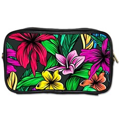 Neon Hibiscus Toiletries Bag (one Side)