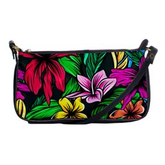 Neon Hibiscus Shoulder Clutch Bag