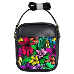 Neon Hibiscus Girls Sling Bag