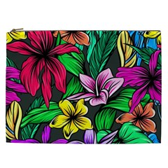 Neon Hibiscus Cosmetic Bag (xxl)