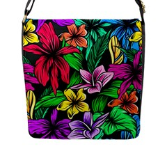 Neon Hibiscus Flap Closure Messenger Bag (l)