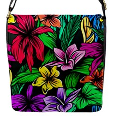 Neon Hibiscus Flap Closure Messenger Bag (s)