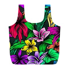 Neon Hibiscus Full Print Recycle Bag (l)