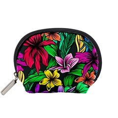 Neon Hibiscus Accessory Pouch (small)