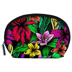 Neon Hibiscus Accessory Pouch (large)