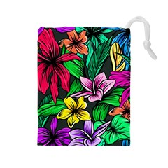 Neon Hibiscus Drawstring Pouch (large)