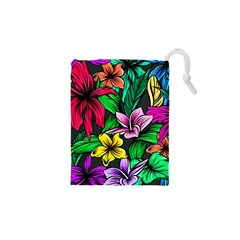 Neon Hibiscus Drawstring Pouch (xs)