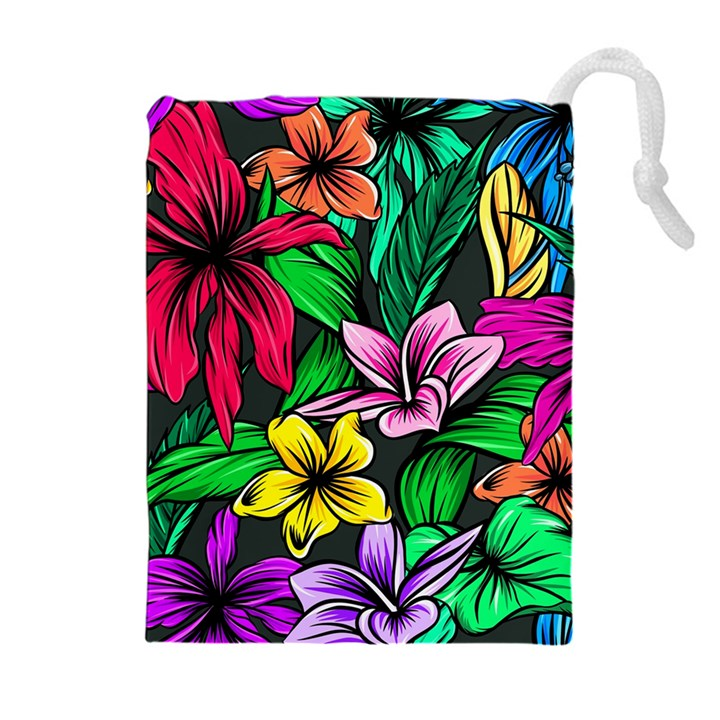 Neon Hibiscus Drawstring Pouch (XL)