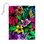Neon Hibiscus Drawstring Pouch (XL) Back
