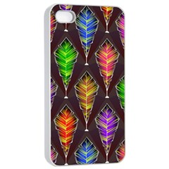 Abstract Background Colorful Leaves Purple Apple Iphone 4/4s Seamless Case (white)