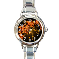 Flowers Background Bokeh Leaf Round Italian Charm Watch
