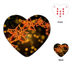 Flowers Background Bokeh Leaf Playing Cards (heart)