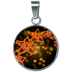 Flowers Background Bokeh Leaf 20mm Round Necklace