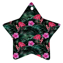 Rose Flamingos Star Ornament (two Sides) by goljakoff