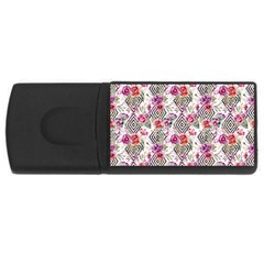 Flowers Geometric Pattern Rectangular Usb Flash Drive by goljakoff