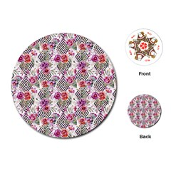 Flowers Geometric Pattern Playing Cards (round) by goljakoff