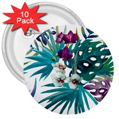 Tropical Flowers 3  Buttons (10 Pack)  by goljakoff