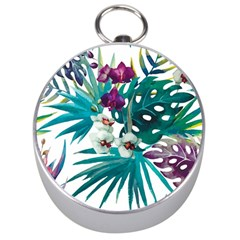 Tropical Flowers Silver Compasses by goljakoff