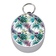 Tropical Flowers Pattern Mini Silver Compasses by goljakoff