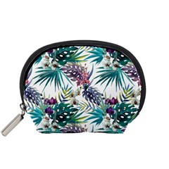 Tropical Flowers Pattern Accessory Pouch (small) by goljakoff