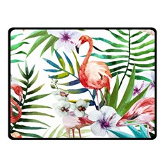 Rose Flamingo Double Sided Fleece Blanket (small)  by goljakoff