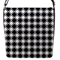 Black And White Diamonds Flap Closure Messenger Bag (s) by retrotoomoderndesigns