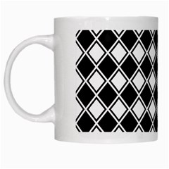 Black And White Diamonds White Mugs by retrotoomoderndesigns
