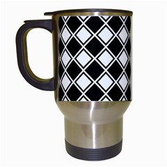 Black And White Diamonds Travel Mugs (white) by retrotoomoderndesigns