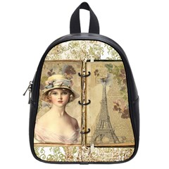 Vintage Design   Paris School Bag (small) by WensdaiAddamns