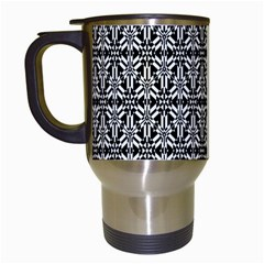 Black And White Filigree Travel Mugs (white) by retrotoomoderndesigns
