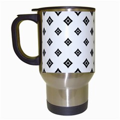 Black And White Tribal Travel Mugs (white) by retrotoomoderndesigns