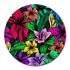 Neon Hibiscus Round Mousepads
