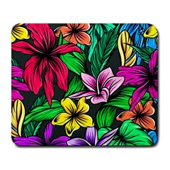 Neon Hibiscus Large Mousepads