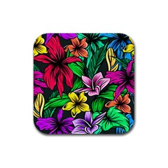 Neon Hibiscus Rubber Square Coaster (4 Pack)