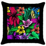 Neon Hibiscus Throw Pillow Case (Black) Front