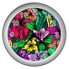 Neon Hibiscus Wall Clock (silver)