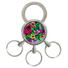Neon Hibiscus 3 Ring Key Chains