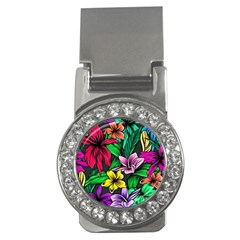 Neon Hibiscus Money Clips (cz)